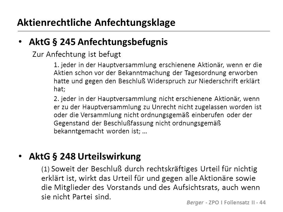 Aktienrechtliche Anfechtungsklage AktG § 245 Anfechtungsbefugnis Zur Anfechtung ist befugt 1.