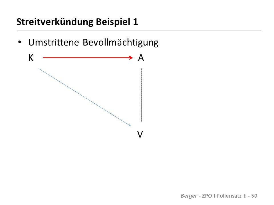Streitverkündung Beispiel 1 Umstrittene Bevollmächtigung K A V Berger - ZPO I Foliensatz II - 50