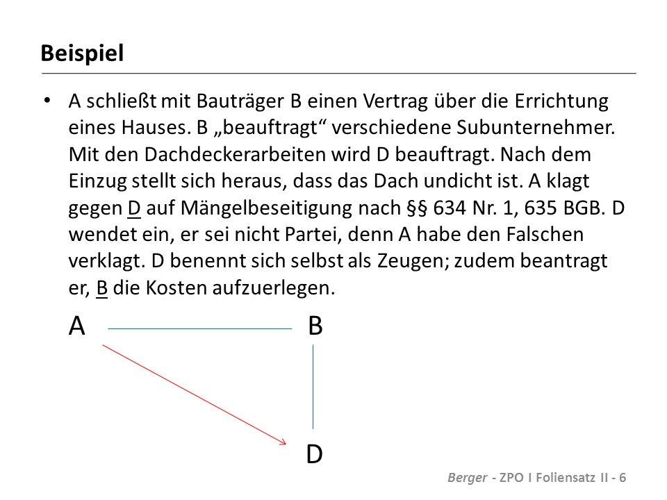 Nebenintervention K Bürge § 774 BGB Hauptschuldner Berger - ZPO I Foliensatz II - 47