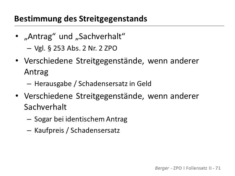 """Bestimmung des Streitgegenstands """"Antrag und """"Sachverhalt – Vgl."""