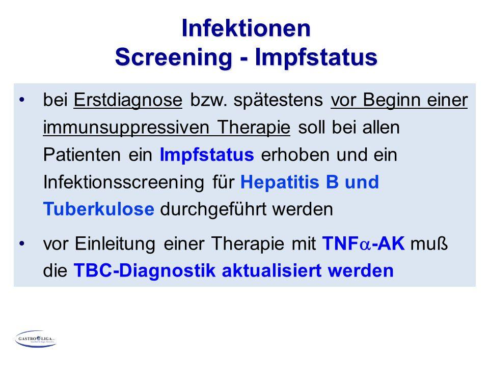 Infektionen Screening - Impfstatus bei Erstdiagnose bzw.