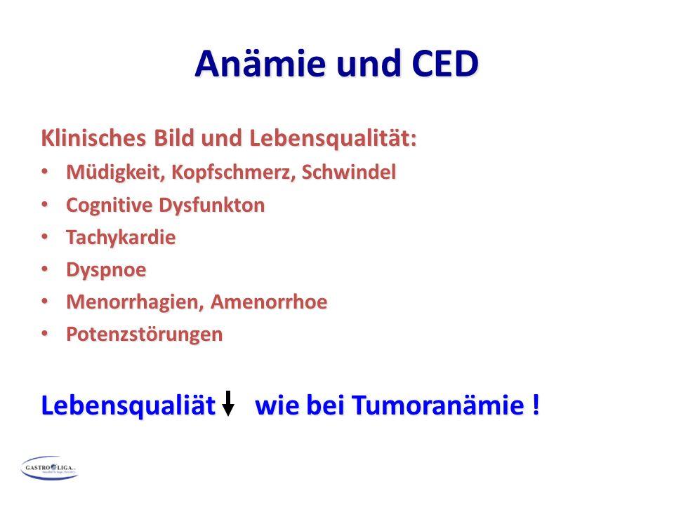 Anämie und CED Klinisches Bild und Lebensqualität: Müdigkeit, Kopfschmerz, Schwindel Müdigkeit, Kopfschmerz, Schwindel Cognitive Dysfunkton Cognitive