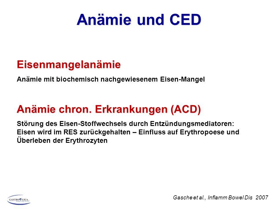 Eisenmangelanämie Anämie mit biochemisch nachgewiesenem Eisen-Mangel Anämie chron. Erkrankungen (ACD) Störung des Eisen-Stoffwechsels durch Entzündung