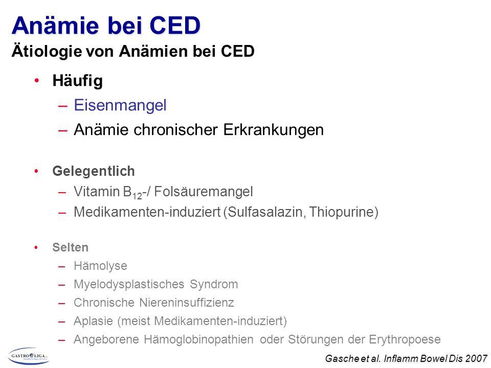 Anämie bei CED Häufig –Eisenmangel –Anämie chronischer Erkrankungen Gelegentlich –Vitamin B 12 -/ Folsäuremangel –Medikamenten-induziert (Sulfasalazin