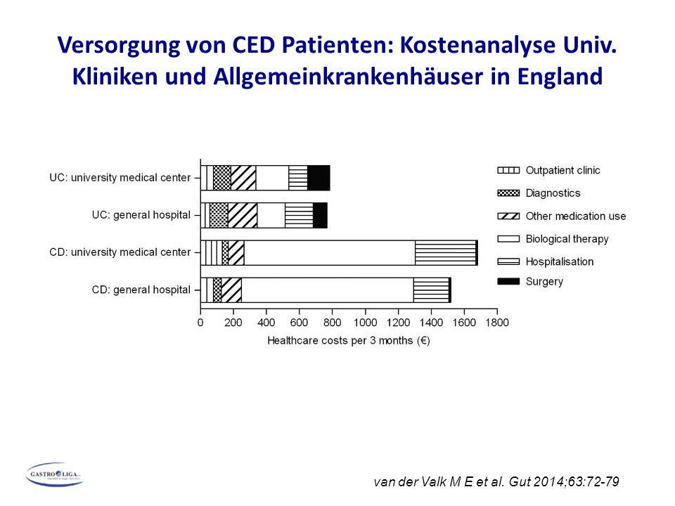 Versorgung von CED Patienten: Kostenanalyse Univ. Kliniken und Allgemeinkrankenhäuser in England van der Valk M E et al. Gut 2014;63:72-79