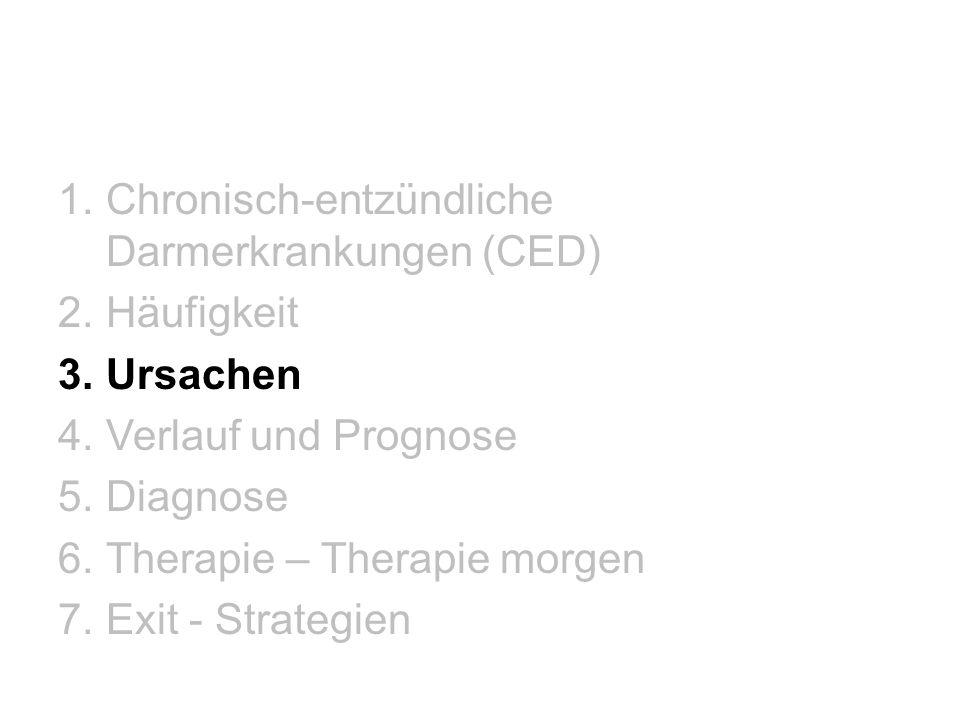 1.Chronisch-entzündliche Darmerkrankungen (CED) 2.Häufigkeit 3.Ursachen 4.Verlauf und Prognose 5.Diagnose 6.Therapie – Therapie morgen 7.Exit - Strate