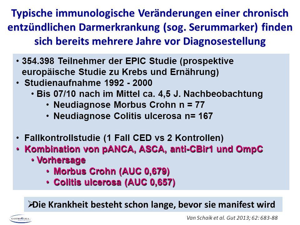 Typische immunologische Veränderungen einer chronisch entzündlichen Darmerkrankung (sog.