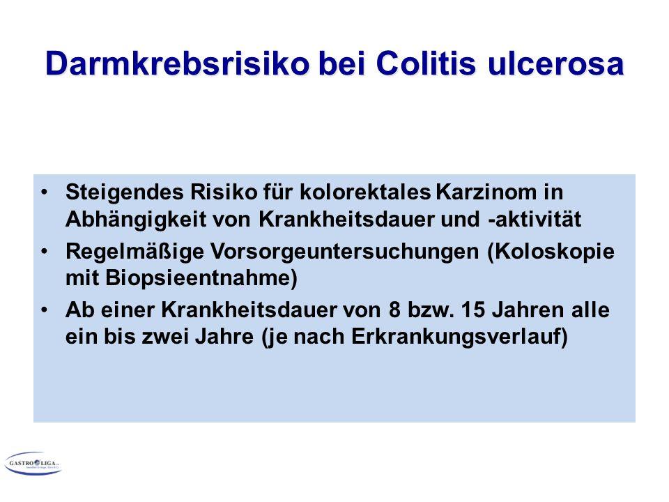 Darmkrebsrisiko bei Colitis ulcerosa Steigendes Risiko für kolorektales Karzinom in Abhängigkeit von Krankheitsdauer und -aktivität Regelmäßige Vorsorgeuntersuchungen (Koloskopie mit Biopsieentnahme) Ab einer Krankheitsdauer von 8 bzw.