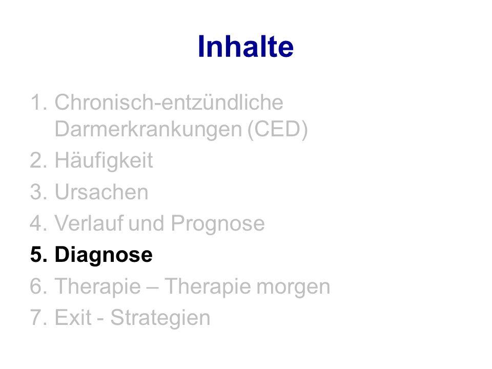 Inhalte 1.Chronisch-entzündliche Darmerkrankungen (CED) 2.Häufigkeit 3.Ursachen 4.Verlauf und Prognose 5.Diagnose 6.Therapie – Therapie morgen 7.Exit - Strategien