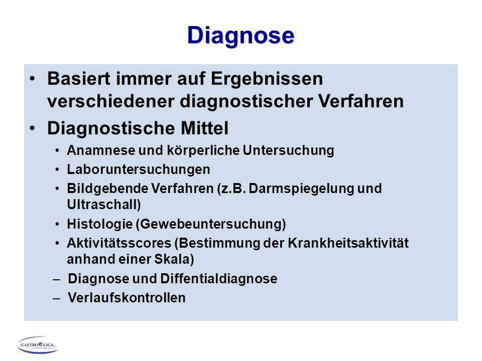 Diagnose Basiert immer auf Ergebnissen verschiedener diagnostischer Verfahren Diagnostische Mittel Anamnese und körperliche Untersuchung Laboruntersuchungen Bildgebende Verfahren (z.B.