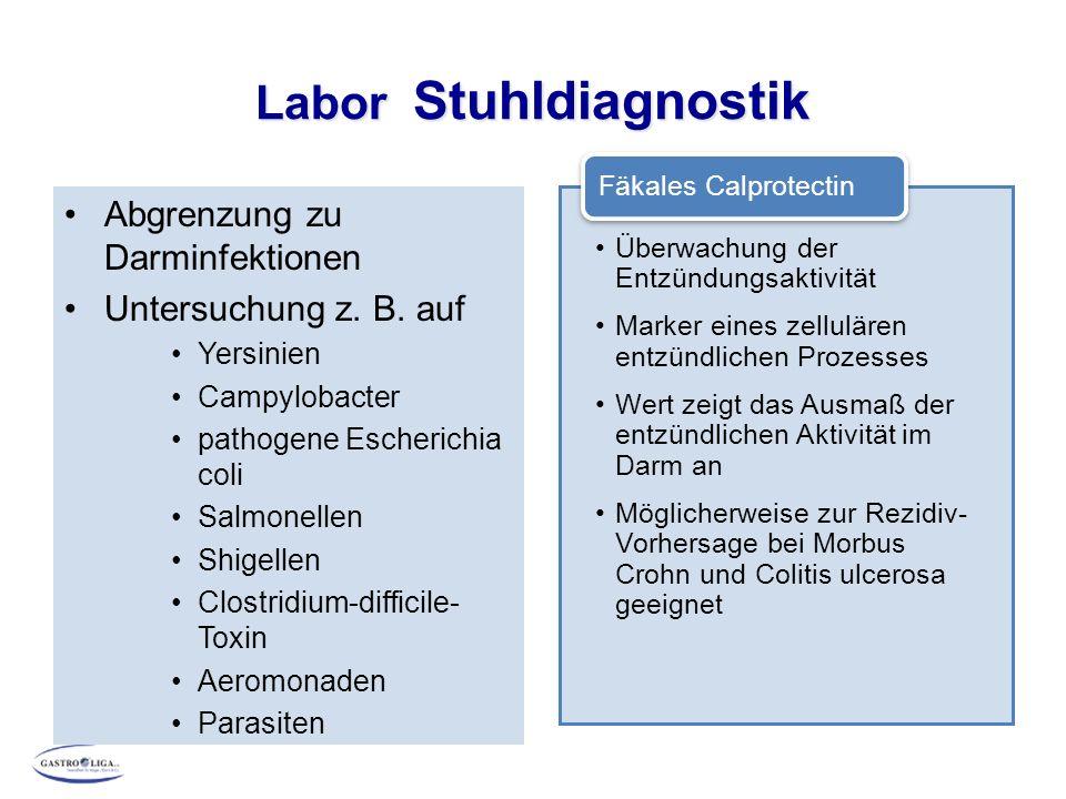 Labor Stuhldiagnostik Abgrenzung zu Darminfektionen Untersuchung z. B. auf Yersinien Campylobacter pathogene Escherichia coli Salmonellen Shigellen Cl