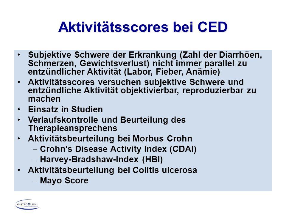 Aktivitätsscores bei CED Subjektive Schwere der Erkrankung (Zahl der Diarrhöen, Schmerzen, Gewichtsverlust) nicht immer parallel zu entzündlicher Akti