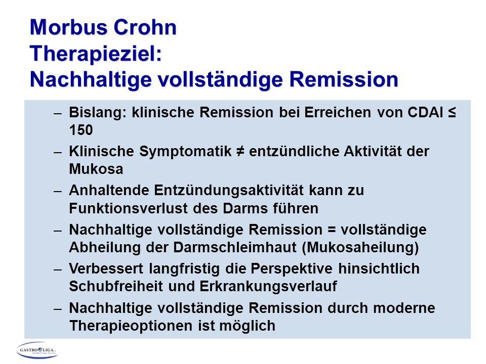 Morbus Crohn Therapieziel: Nachhaltige vollständige Remission –Bislang: klinische Remission bei Erreichen von CDAI ≤ 150 –Klinische Symptomatik ≠ entz