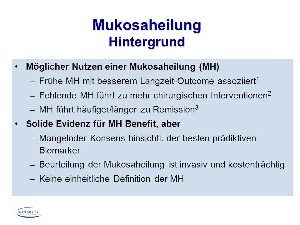 Möglicher Nutzen einer Mukosaheilung (MH) –Frühe MH mit besserem Langzeit-Outcome assoziiert 1 –Fehlende MH führt zu mehr chirurgischen Interventionen