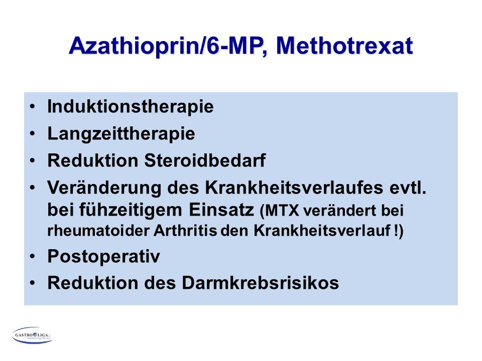 Azathioprin/6-MP, Methotrexat Induktionstherapie Langzeittherapie Reduktion Steroidbedarf Veränderung des Krankheitsverlaufes evtl.