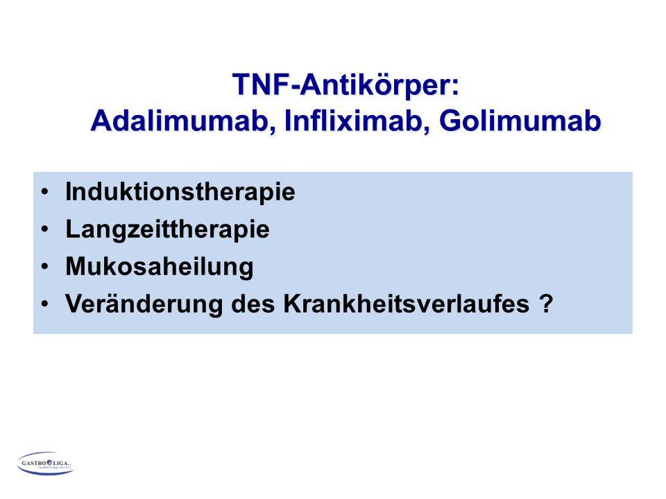 Induktionstherapie Langzeittherapie Mukosaheilung Veränderung des Krankheitsverlaufes ? TNF-Antikörper: Adalimumab, Infliximab, Golimumab