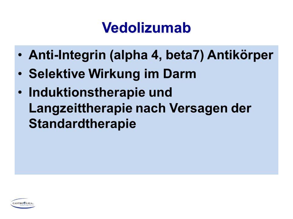 Vedolizumab Anti-Integrin (alpha 4, beta7) Antikörper Selektive Wirkung im Darm Induktionstherapie und Langzeittherapie nach Versagen der Standardther