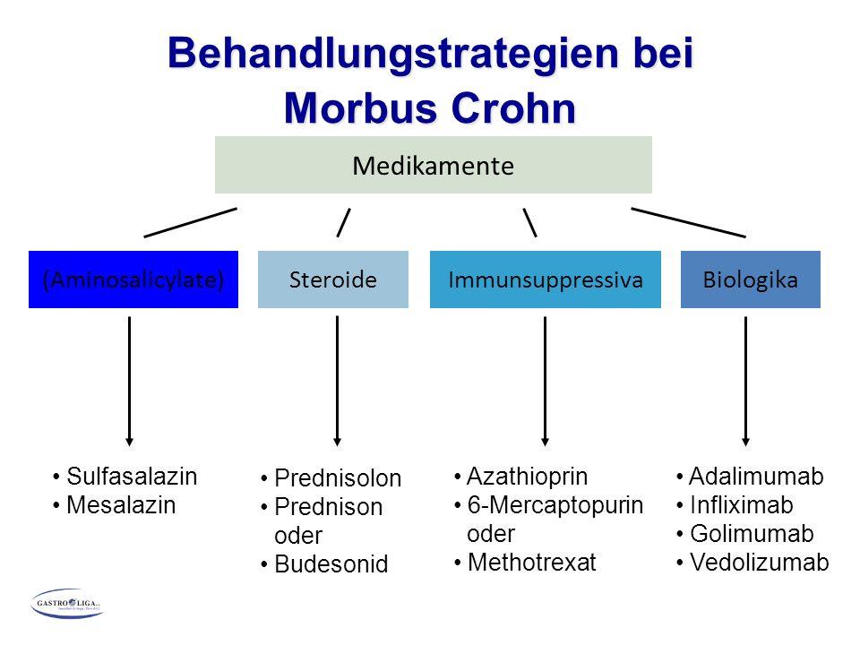 Behandlungstrategien bei Morbus Crohn Medikamente (Aminosalicylate)ImmunsuppressivaSteroide Sulfasalazin Mesalazin Prednisolon Prednison oder Budesoni