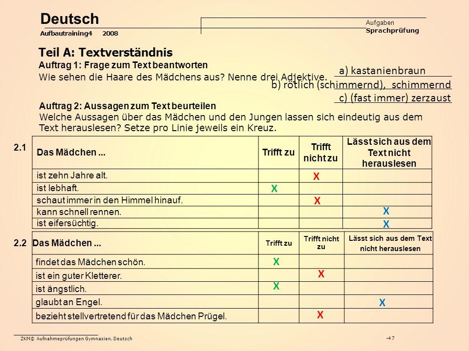 ZKM© Aufnahmeprüfungen Gymnasien, Deutsch 47 Das Mädchen...Trifft zu Trifft nicht zu Lässt sich aus dem Text nicht herauslesen ist zehn Jahre alt.
