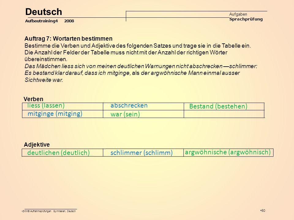 ZKM© Aufnahmeprüfungen Gymnasien, Deutsch 50 Deutsch Aufgaben Sprachprüfung Aufbautraining4 2008 Auftrag 7: Wortarten bestimmen Bestimme die Verben und Adjektive des folgenden Satzes und trage sie in die Tabelle ein.