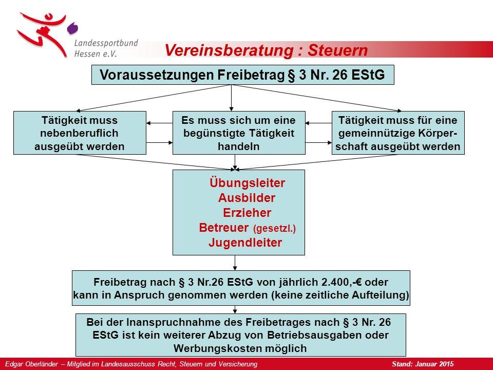 Vereinsberatung : Steuern Voraussetzungen Freibetrag § 3 Nr.