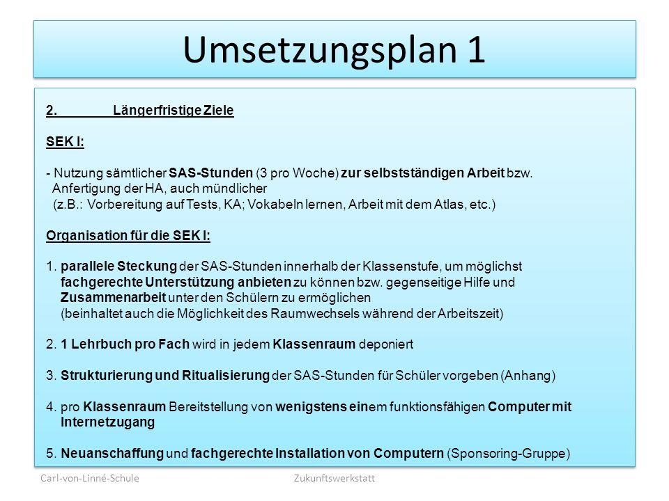 Umsetzungsplan 1 Carl-von-Linné-SchuleZukunftswerkstatt 2.Längerfristige Ziele SEK I: - Nutzung sämtlicher SAS-Stunden (3 pro Woche) zur selbstständig