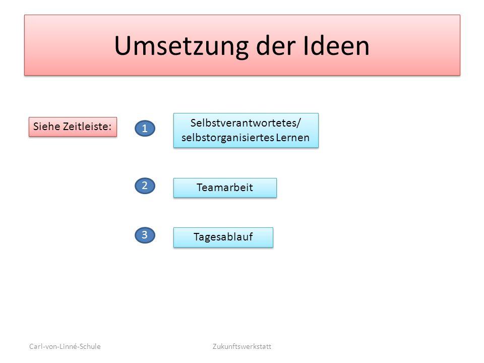 Umsetzung der Ideen Carl-von-Linné-SchuleZukunftswerkstatt Selbstverantwortetes/ selbstorganisiertes Lernen Tagesablauf Teamarbeit Siehe Zeitleiste: 1