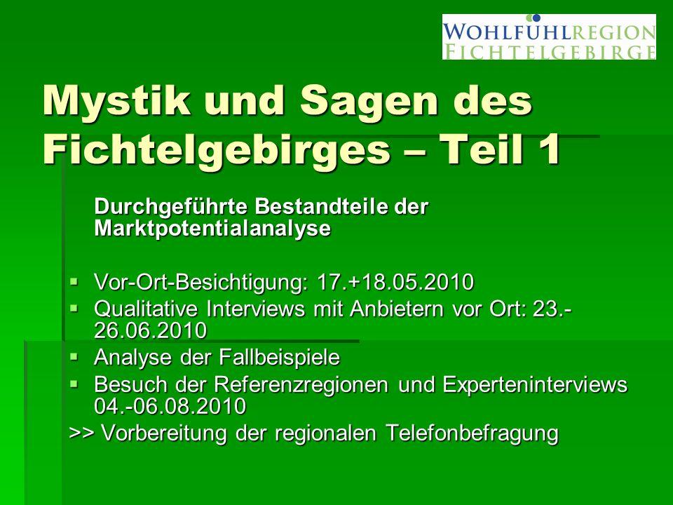 Mystik und Sagen des Fichtelgebirges – Teil 1 Durchgeführte Bestandteile der Marktpotentialanalyse  Vor-Ort-Besichtigung: 17.+18.05.2010  Qualitativ