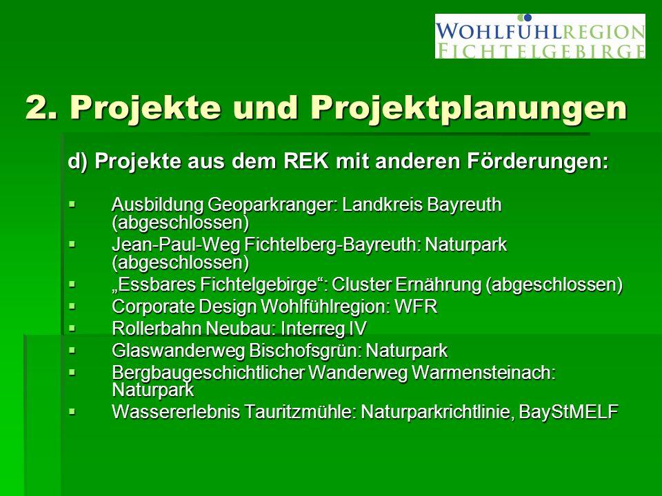 2. Projekte und Projektplanungen d) Projekte aus dem REK mit anderen Förderungen:  Ausbildung Geoparkranger: Landkreis Bayreuth (abgeschlossen)  Jea