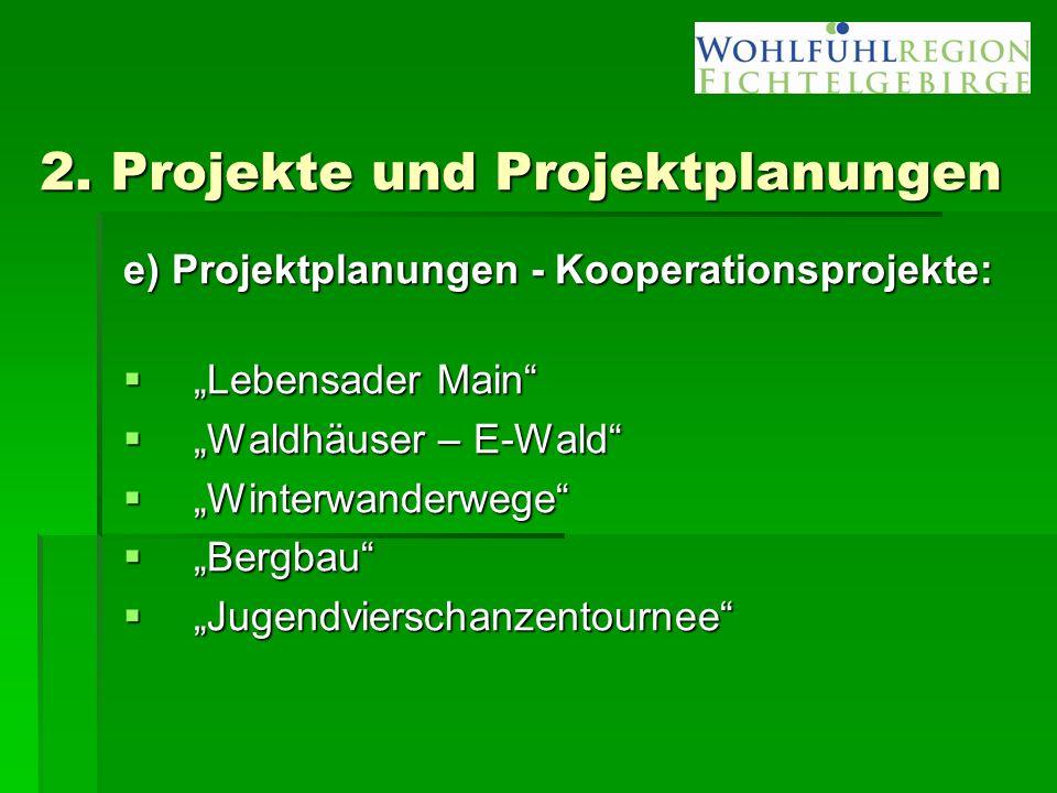 "2. Projekte und Projektplanungen e) Projektplanungen - Kooperationsprojekte:  ""Lebensader Main""  ""Waldhäuser – E-Wald""  ""Winterwanderwege""  ""Bergb"
