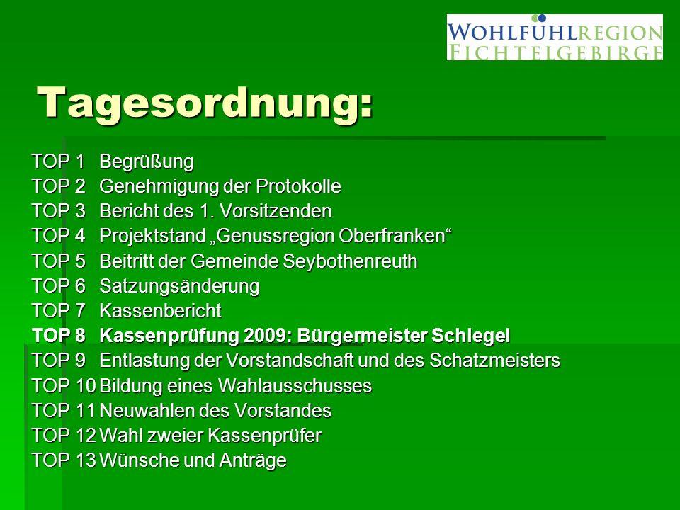"Tagesordnung: TOP 1Begrüßung TOP 2 Genehmigung der Protokolle TOP 3Bericht des 1. Vorsitzenden TOP 4Projektstand ""Genussregion Oberfranken"" TOP 5Beitr"