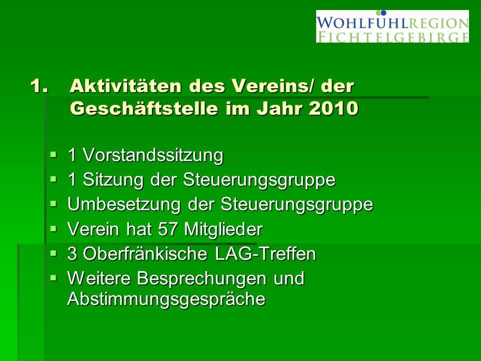 1.Aktivitäten des Vereins/ der Geschäftstelle im Jahr 2010  1 Vorstandssitzung  1 Sitzung der Steuerungsgruppe  Umbesetzung der Steuerungsgruppe 