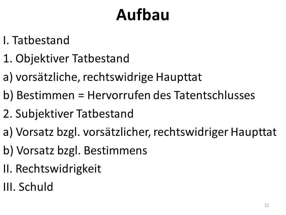 Aufbau I. Tatbestand 1.