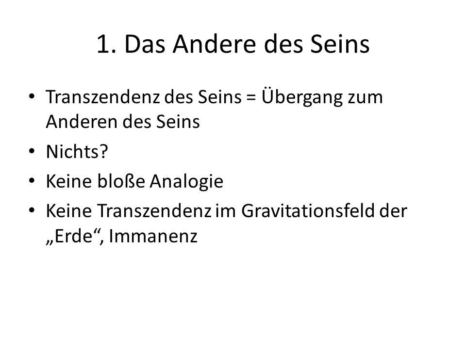 1. Das Andere des Seins Transzendenz des Seins = Übergang zum Anderen des Seins Nichts.