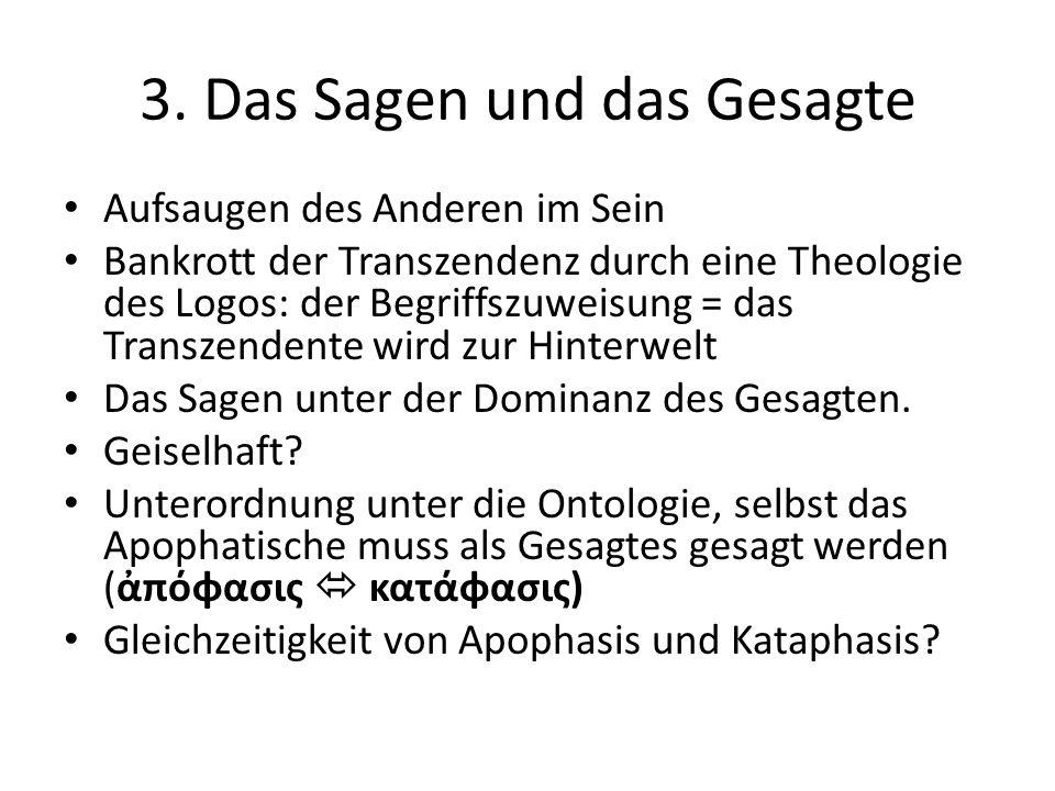 3. Das Sagen und das Gesagte Aufsaugen des Anderen im Sein Bankrott der Transzendenz durch eine Theologie des Logos: der Begriffszuweisung = das Trans