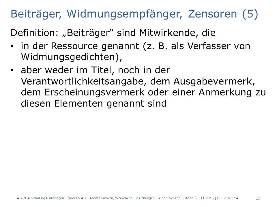 """Beiträger, Widmungsempfänger, Zensoren (5) Definition: """"Beiträger sind Mitwirkende, die in der Ressource genannt (z."""