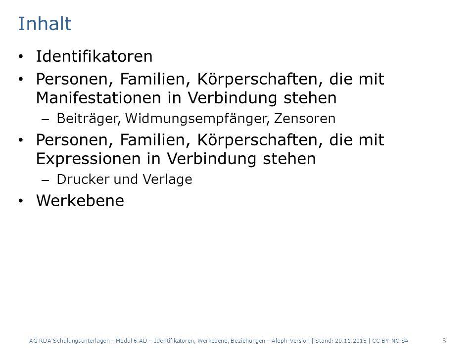 Werkebene Modul 6: Alte Drucke 24 AG RDA Schulungsunterlagen – Modul 6.AD – Identifikatoren, Werkebene, Beziehungen – Aleph-Version | Stand: 20.11.2015 | CC BY-NC-SA