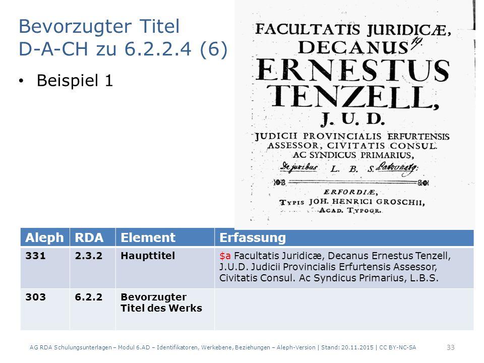 Bevorzugter Titel D-A-CH zu 6.2.2.4 (6) Beispiel 1 AG RDA Schulungsunterlagen – Modul 6.AD – Identifikatoren, Werkebene, Beziehungen – Aleph-Version | Stand: 20.11.2015 | CC BY-NC-SA 33 AlephRDAElementErfassung 3312.3.2Haupttitel$a Facultatis Juridicæ, Decanus Ernestus Tenzell, J.U.D.