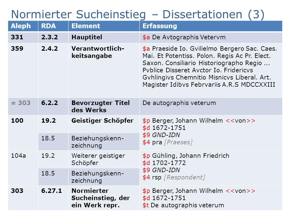 Normierter Sucheinstieg – Dissertationen (3) Beispiel AG RDA Schulungsunterlagen – Modul 6.AD – Identifikatoren, Werkebene, Beziehungen – Aleph-Version | Stand: 20.11.2015 | CC BY-NC-SA 40 AlephRDAElementErfassung 3312.3.2Hauptitel$a De Avtographis Vetervm 3592.4.2Verantwortlich- keitsangabe $a Praeside Io.