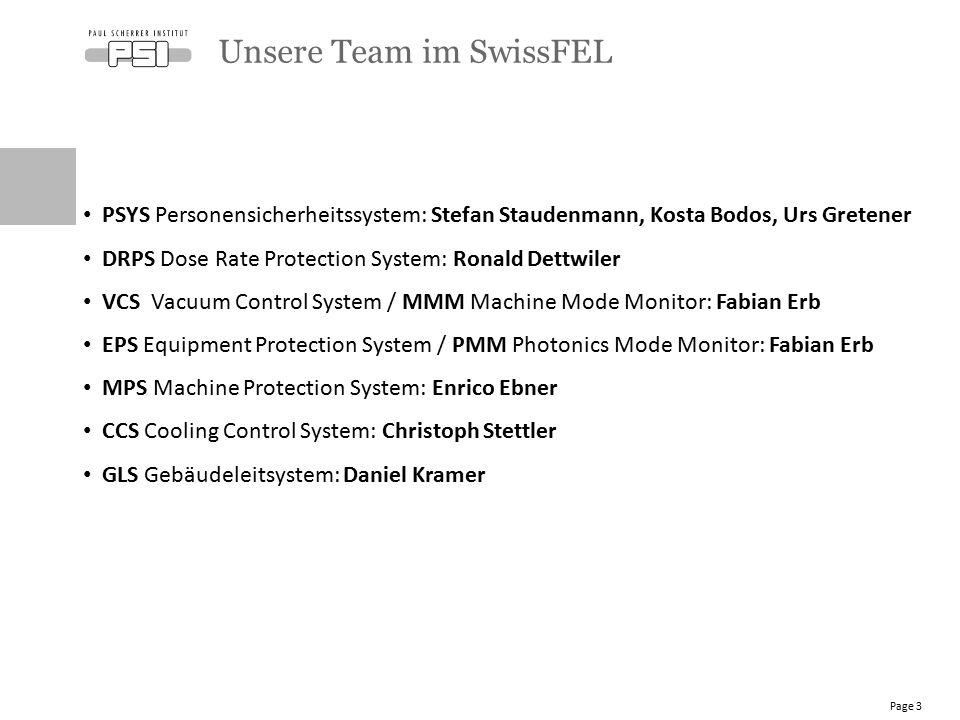Unsere Team im SwissFEL Page 3 PSYS Personensicherheitssystem: Stefan Staudenmann, Kosta Bodos, Urs Gretener DRPS Dose Rate Protection System: Ronald