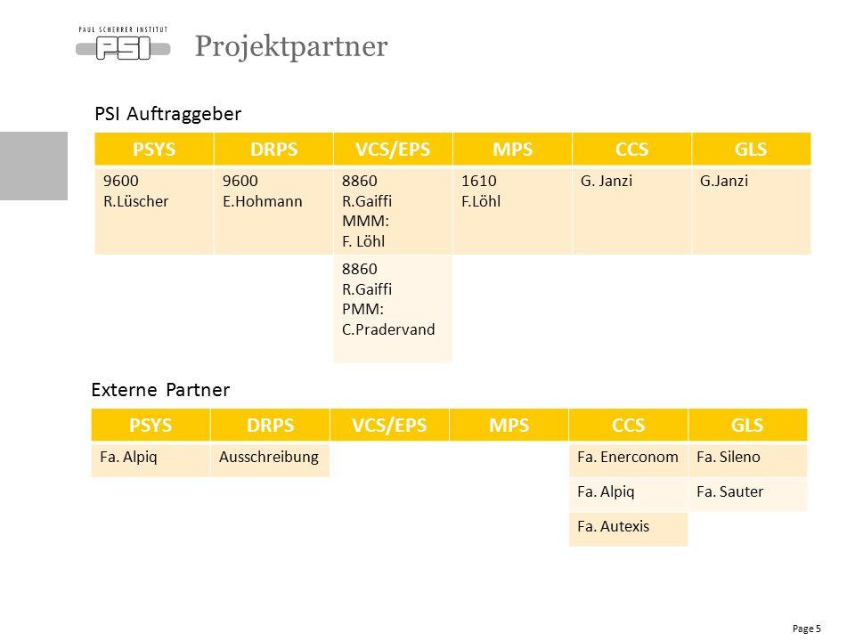 PSYSDRPSVCS/EPSMPSCCSGLS 9600 R.Lüscher 9600 E.Hohmann 8860 R.Gaiffi MMM: F. Löhl 1610 F.Löhl G. Janzi 8860 R.Gaiffi PMM: C.Pradervand Projektpartner