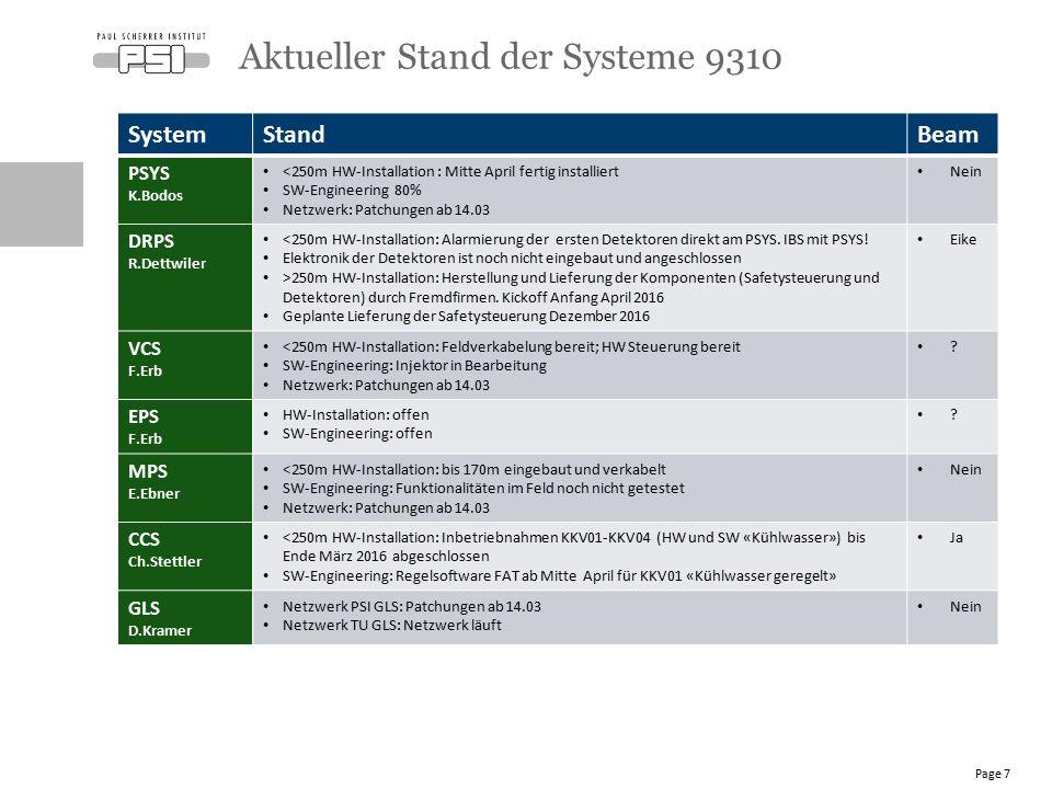SystemStandBeam PSYS K.Bodos <250m HW-Installation : Mitte April fertig installiert SW-Engineering 80% Netzwerk: Patchungen ab 14.03 Nein DRPS R.Dettwiler <250m HW-Installation: Alarmierung der ersten Detektoren direkt am PSYS.