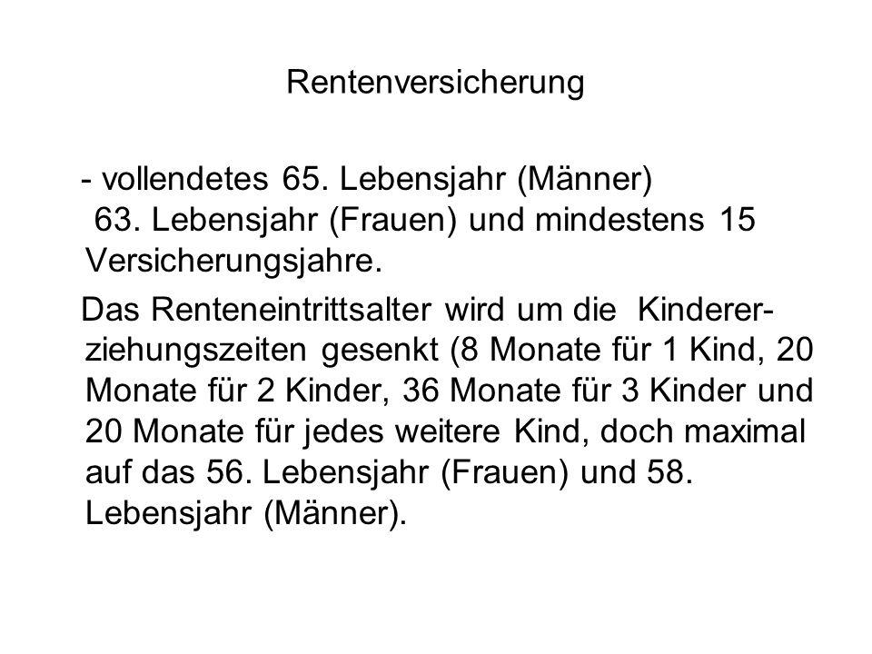 Rentenversicherung - vollendetes 65. Lebensjahr (Männer) 63.