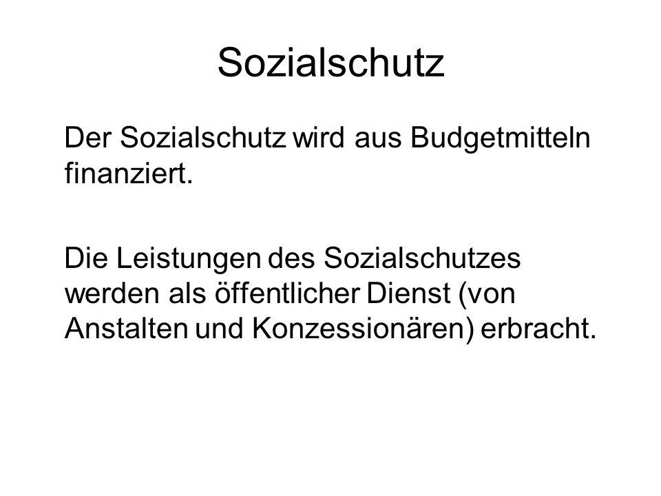 Sozialschutz Der Sozialschutz wird aus Budgetmitteln finanziert.