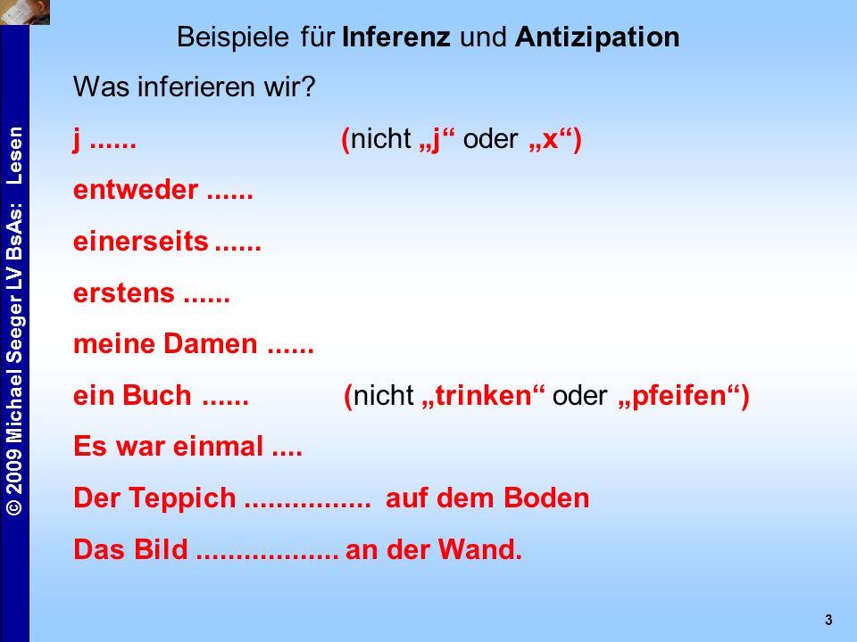 © 2009 Michael Seeger LV BsAs: Lesen 3 Beispiele für Inferenz und Antizipation Was inferieren wir.