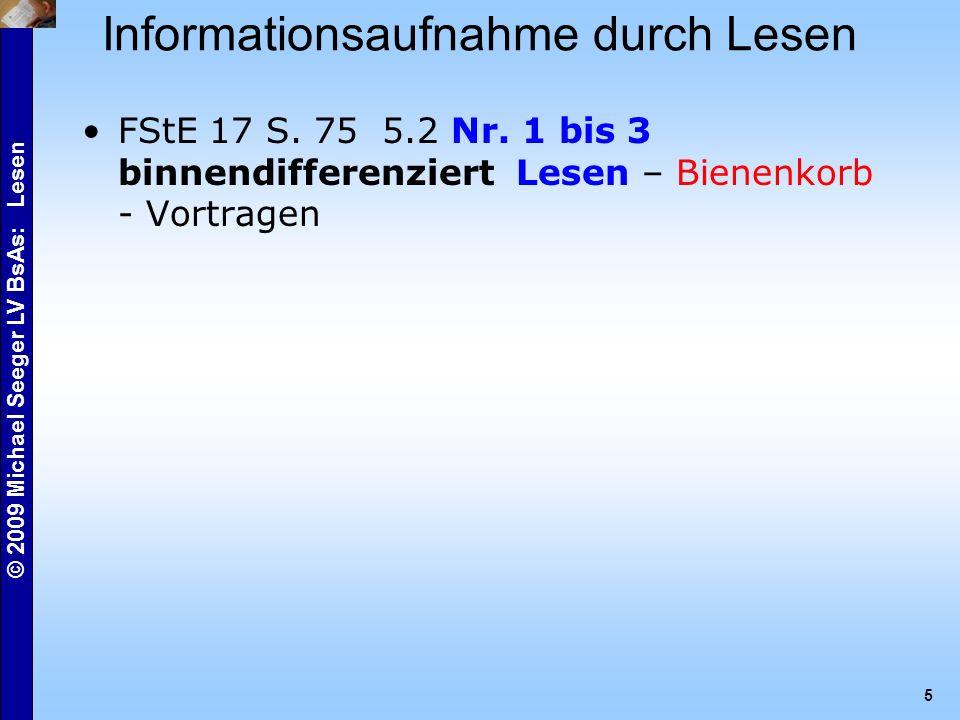 © 2009 Michael Seeger LV BsAs: Lesen 5 Informationsaufnahme durch Lesen FStE 17 S.