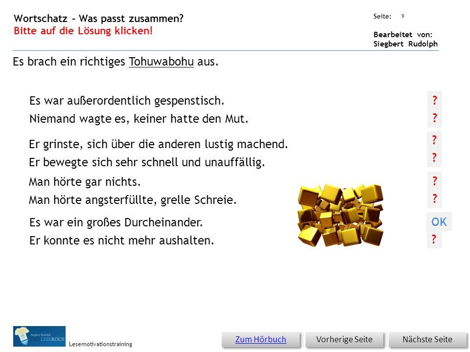 Übungsart: Seite: Bearbeitet von: Siegbert Rudolph Lesemotivationstraining Es war ein großes Durcheinander.