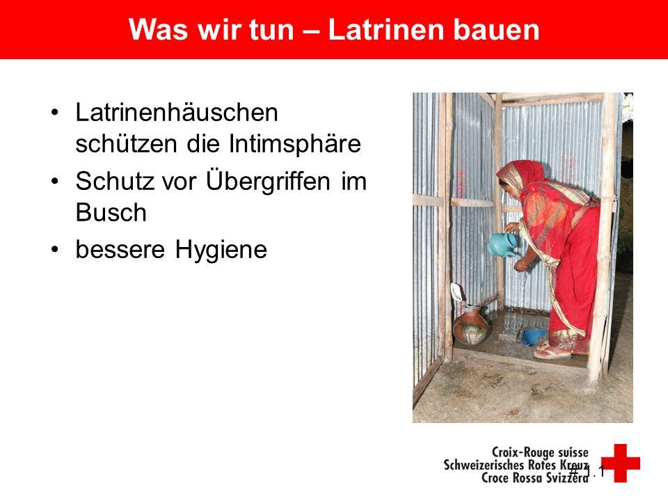 Was wir tun – Latrinen bauen Latrinenhäuschen schützen die Intimsphäre Schutz vor Übergriffen im Busch bessere Hygiene # 1.1