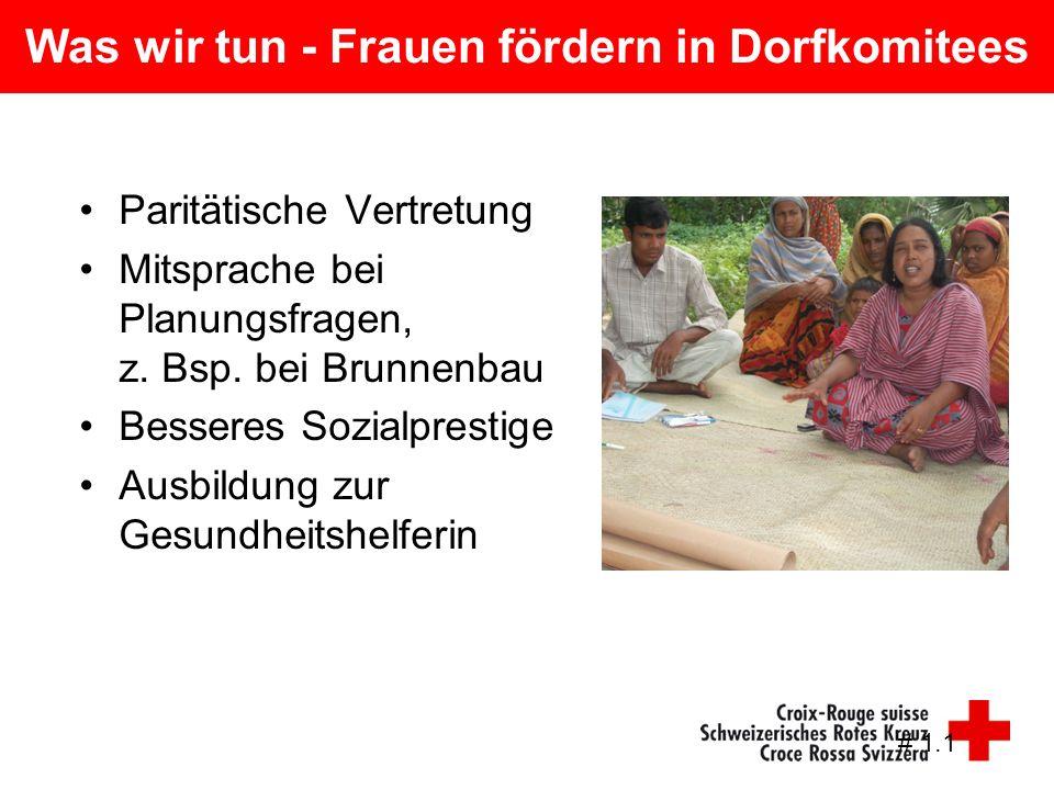 Was wir tun - Frauen fördern in Dorfkomitees Paritätische Vertretung Mitsprache bei Planungsfragen, z. Bsp. bei Brunnenbau Besseres Sozialprestige Aus