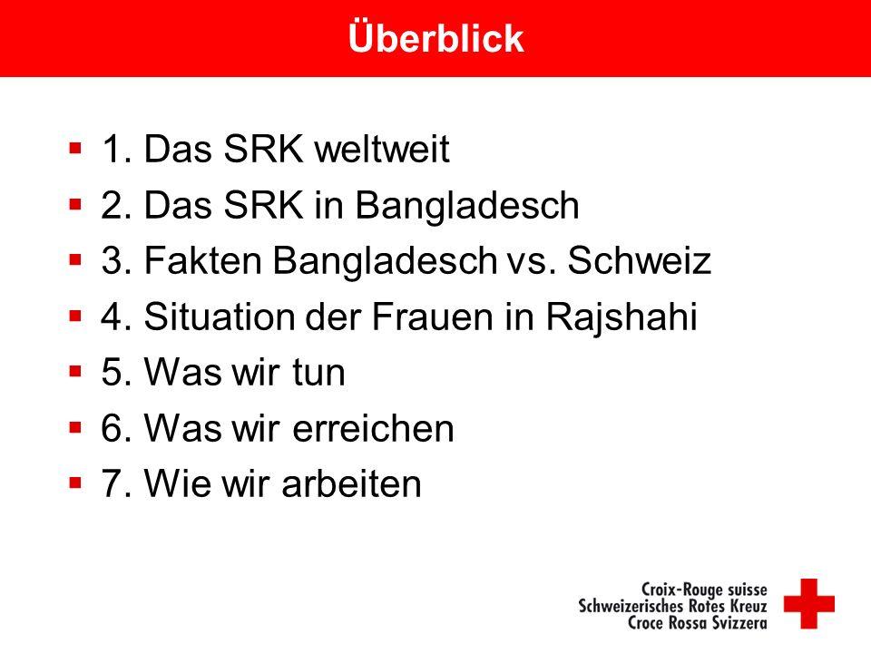 Überblick  1. Das SRK weltweit  2. Das SRK in Bangladesch  3. Fakten Bangladesch vs. Schweiz  4. Situation der Frauen in Rajshahi  5. Was wir tun